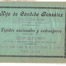 Coleccionismo de carteles: CARTEL PUBLICITARIO. LEON. HIJO DE CANDIDO GONZALEZ. 25 X 18CM. PRINCIPIOS SIGLO XX. Lote 176736273