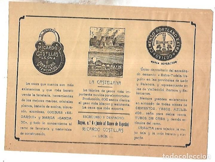 CARTEL PUBLICITARIO. LEON. RICARDO COSTILLAS. CEMENTO PORTLAND. 25 X 18CM. PRINCIPIOS SIGLO XX (Coleccionismo - Carteles Pequeño Formato)