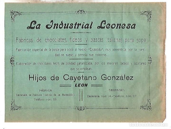 CARTEL PUBLICITARIO. LEON. LA INDUSTRIAL LEONESA. FABRICA DE CHOCOLATE. PRINCIPIOS SIGLO XX (Coleccionismo - Carteles Pequeño Formato)
