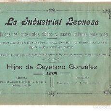 Coleccionismo de carteles: CARTEL PUBLICITARIO. LEON. LA INDUSTRIAL LEONESA. FABRICA DE CHOCOLATE. PRINCIPIOS SIGLO XX. Lote 176736448