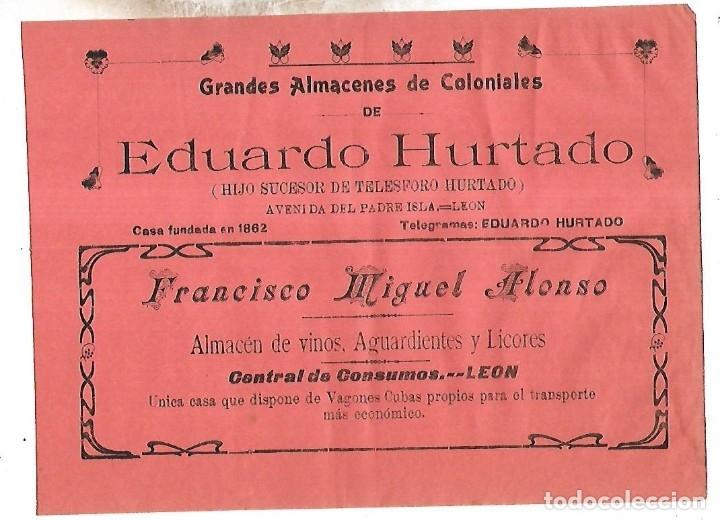 CARTEL PUBLICITARIO. LEON. ALMACENES COLONIALES EDUARDO HURTADO. PRINCIPIOS SIGLO XX (Coleccionismo - Carteles Pequeño Formato)