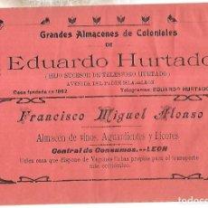 Coleccionismo de carteles: CARTEL PUBLICITARIO. LEON. ALMACENES COLONIALES EDUARDO HURTADO. PRINCIPIOS SIGLO XX. Lote 176736502