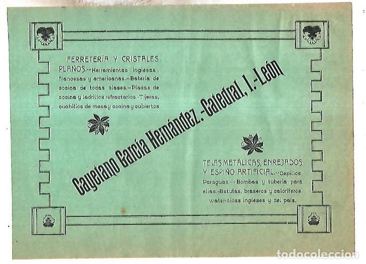 CARTEL PUBLICITARIO. LEON. FERRETERIA Y CRISTALES PLANOS CAYETANO GARCIA HDEZ. PRINCIPIOS SIGLO XX (Coleccionismo - Carteles Pequeño Formato)