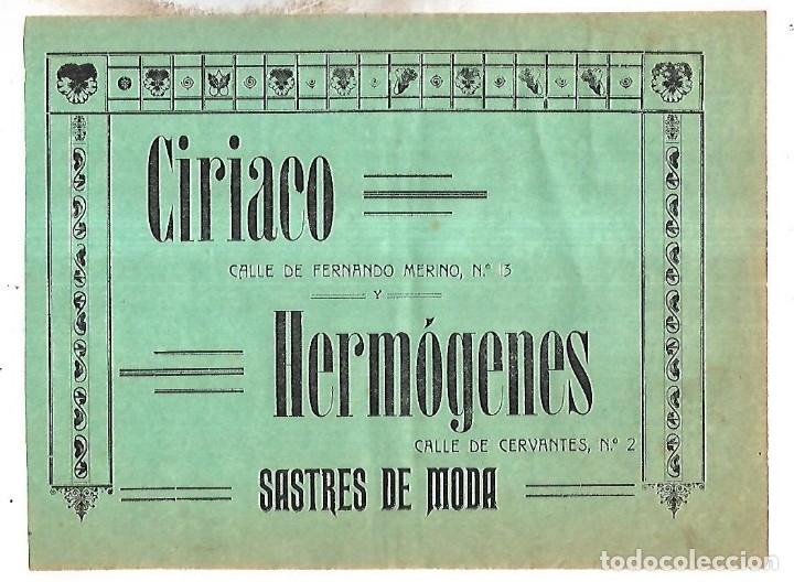 CARTEL PUBLICITARIO. LEON. SASTRES DE MODA CIRIACO HERMOGENES. PRINCIPIOS SIGLO XX (Coleccionismo - Carteles Pequeño Formato)