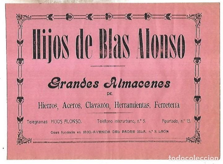 CARTEL PUBLICITARIO. LEON. GRANDES ALAMACENES HIJOS DE BLAS ALONSO. PRINCIPIOS SIGLO XX (Coleccionismo - Carteles Pequeño Formato)