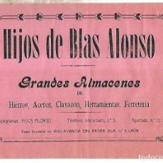 Coleccionismo de carteles: CARTEL PUBLICITARIO. LEON. GRANDES ALAMACENES HIJOS DE BLAS ALONSO. PRINCIPIOS SIGLO XX. Lote 176736694