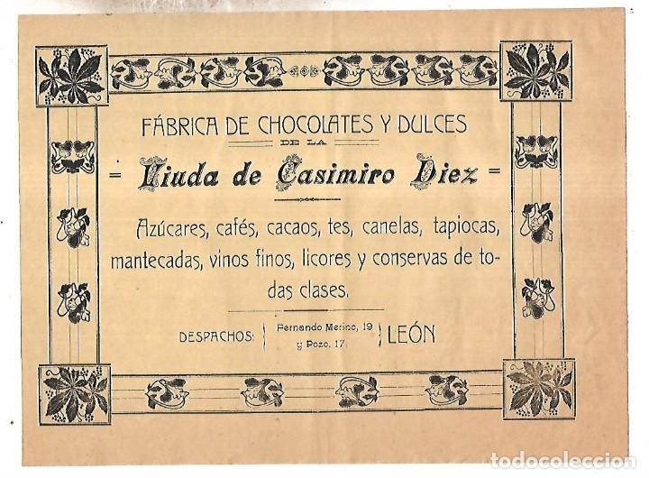 CARTEL PUBLICITARIO. LEON. FABRICA DE CHOCOLATES Y DULCES VDA CASIMIRO DIEZ. PRINCIPIOS SIGLO XX (Coleccionismo - Carteles Pequeño Formato)