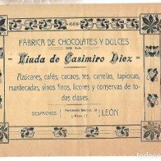 Coleccionismo de carteles: CARTEL PUBLICITARIO. LEON. FABRICA DE CHOCOLATES Y DULCES VDA CASIMIRO DIEZ. PRINCIPIOS SIGLO XX. Lote 176736750