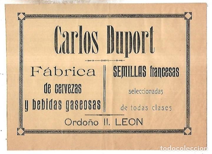 CARTEL PUBLICITARIO. LEON. FABRICA DE CERVEZAS CARLOS DUPORT. PRINCIPIOS SIGLO XX (Coleccionismo - Carteles Pequeño Formato)