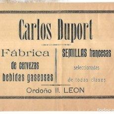 Coleccionismo de carteles: CARTEL PUBLICITARIO. LEON. FABRICA DE CERVEZAS CARLOS DUPORT. PRINCIPIOS SIGLO XX. Lote 176736795