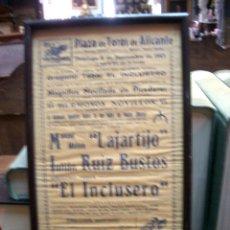 Coleccionismo de carteles: CARTEL TAURINO, PLAZA TOROS ALICANTE, 1963. Lote 176885863