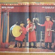 Coleccionismo de carteles: CARTEL A3 GENTE MENUDA. AÑOS 70. LOS PAYASOS DE LA TELE. Lote 176913829
