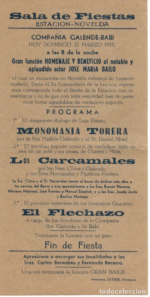 PROGRAMA PASQUÍN PROGRAMACIÓN DE SALA DE FIESTAS ESTACIÓN NOVELDA AÑO 1955 (Coleccionismo - Carteles Pequeño Formato)