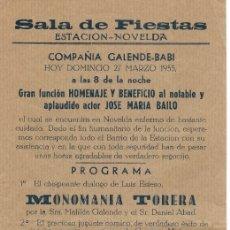 Coleccionismo de carteles: PROGRAMA PASQUÍN PROGRAMACIÓN DE SALA DE FIESTAS ESTACIÓN NOVELDA AÑO 1955. Lote 176999080