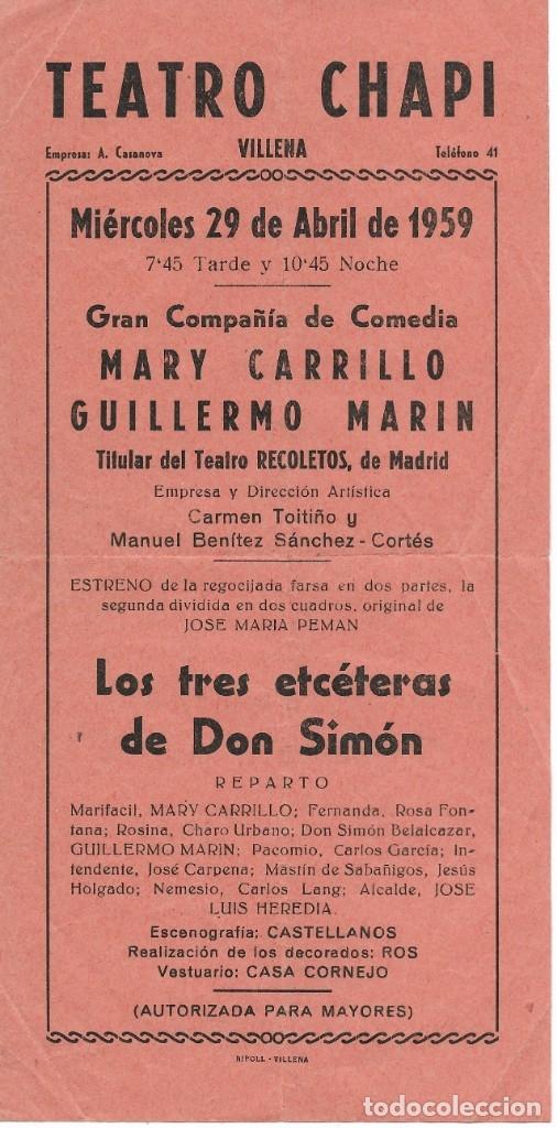 PROGRAMA PASQUÍN PROGRAMACIÓN TEATRO CHAPI VILLENA AÑO 1959 (Coleccionismo - Carteles Pequeño Formato)