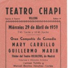 Coleccionismo de carteles: PROGRAMA PASQUÍN PROGRAMACIÓN TEATRO CHAPI VILLENA AÑO 1959. Lote 176999370