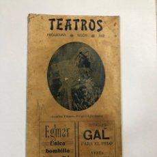 Coleccionismo de carteles: TEATROS. PROGRAMA DE TEATROS DINDURRA. GIJON, 1912. . Lote 177473222
