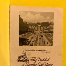 Coleccionismo de carteles: CARACAS 1956 RECUERDOS DE VENEZUELA ANTIGUA FOTO FELICITACION NAVIDAD AEROPUERTO DE CARACAS . Lote 177691355