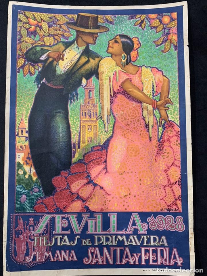 CARTEL LITOGRAFÍA ORIGINAL SEVILLA FIESTAS DE PRIMAVERA SEMANA SANTA Y FERIA DE 1928 (Coleccionismo - Carteles Pequeño Formato)