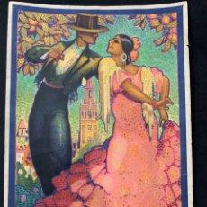 Coleccionismo de carteles: CARTEL LITOGRAFÍA ORIGINAL SEVILLA FIESTAS DE PRIMAVERA SEMANA SANTA Y FERIA DE 1928. Lote 178058557
