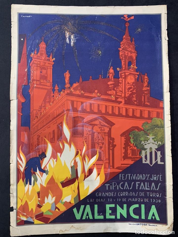 CARTEL LITOGRAFÍA FALLAS DE VALENCIA 1930 ORIGINAL (Coleccionismo - Carteles Pequeño Formato)
