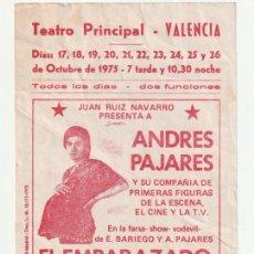 Coleccionismo de carteles: PANFLETO TEATRO PRINCIPAL VALENCIA 1975 ANDRES PAJARES EL EMBARAZADO- -D-5. Lote 178711313