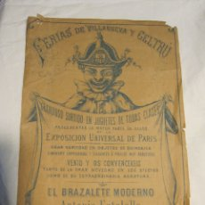 Coleccionismo de carteles: CARTEL FERIAS DE VILLANUEVA Y GELTRÚ.VILANOVA I LA GELTRÚ. LIT. HURTADO. EL BRAZALETE MODERNO . Lote 179088566