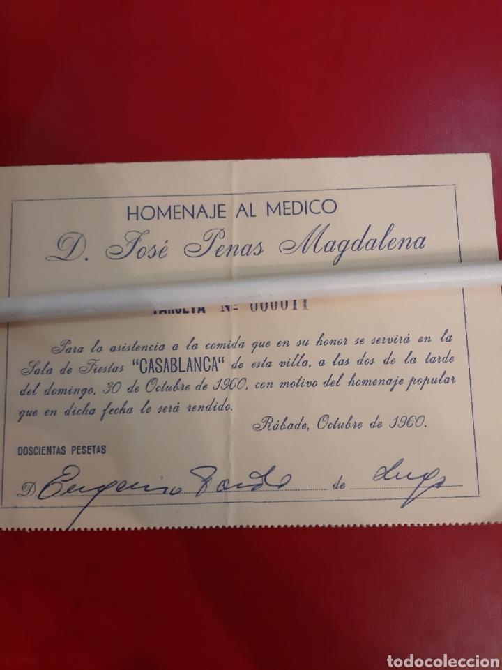1960 SALA FIESTAS CASABLANCO INVITACIÓN HOMENAJE MÉDICO JOSÉ OENAS MAGDALENA (Coleccionismo - Carteles Pequeño Formato)