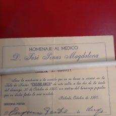 Coleccionismo de carteles: 1960 SALA FIESTAS CASABLANCO INVITACIÓN HOMENAJE MÉDICO JOSÉ OENAS MAGDALENA. Lote 179151681