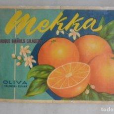 Coleccionismo de carteles: ETIQUETA DE NARANJAS MEKKA ENRIQUE BAÑULS OLIVA VALENCIA. Lote 179217336