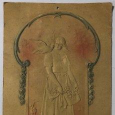 Coleccionismo de carteles: CARTEL DE CARTON TROQUELADO MODERNISTA. MUJER. . Lote 179231456