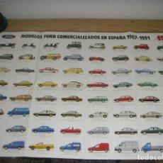 Coleccionismo de carteles: POSTER MODELOS FORD COMERCIALIZADOS EN ESPAÑA (1907-1991) 15º ANIVERSARIO FACTORÍA DE ALMUSSAFES. Lote 180044490