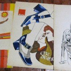 Coleccionismo de carteles: 3 LAMINAS CARTEL ORIGINAL PUBLICIDAD MODA ELITE CREMA VARESE ZAPATOS RATA 32/25 CM. Lote 180422066