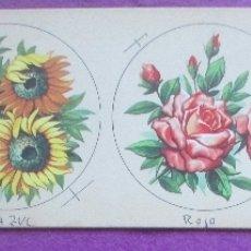 Coleccionismo de carteles: CARTON ORIGINAL, PINTADA A MANO, FLORES, 4 DISTINTAS, VER FOTOS, E116. Lote 182497812