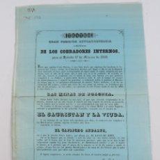 Coleccionismo de carteles: CARTEL EN SEDA DE TEATRO EN VALLADOLID, 17 FEBRERO 1849. A BENEFICIO DE LOS COBRADORES INERNOS, IMP.. Lote 182844458