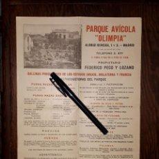 Colecionismo de cartazes: CARTEL PUBLICITARIO PARQUE AVICOLA OLIMPIA MADRID 1921. Lote 183516735