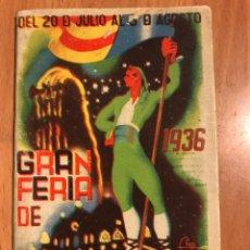 Collezionismo di affissi: GRAN FERIA DE VALENCIA 20 JULIO AL 5 DE AGOSTO.PROGRAMA OFICIAL AYUNTAMIENTO.1936 ILUSTRADOR CHAPI. Lote 183546535