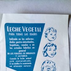Coleccionismo de carteles: PUBLICIDAD DE LECHE DE ALMENDRAS NUTRONA EN PAPEL.. Lote 183974346