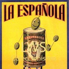 Colecionismo de cartazes: CARTELES PUBLICITARIOS FRUTAS Y VERDURAS - PUBLICIDAD IMÁGENES - ACEITUNAS OLIVAS LA ESPAÑOLA ALCOY. Lote 210332293