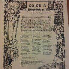 Collectionnisme d'affiches: GOIGS A SANTA JOAQUIMA DE VEDRUNA, 1973. ORIGINAL, NO FOTOCOPIA. Lote 184539430