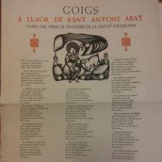 Collectionnisme d'affiches: GOIGS A LLAOR DE SANT ANTONI ABAT, 1967. ORIGINAL, NO FOTOCOPIA. Lote 184543371
