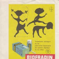 Coleccionismo de carteles: PUBLICIDAD DE FARMACIA, BIOFRADIN, BIOEMETIN. INSTITUTO FARMACOLOGICO EXPERIMENTAL, S. A., BIOHORM. Lote 184699512