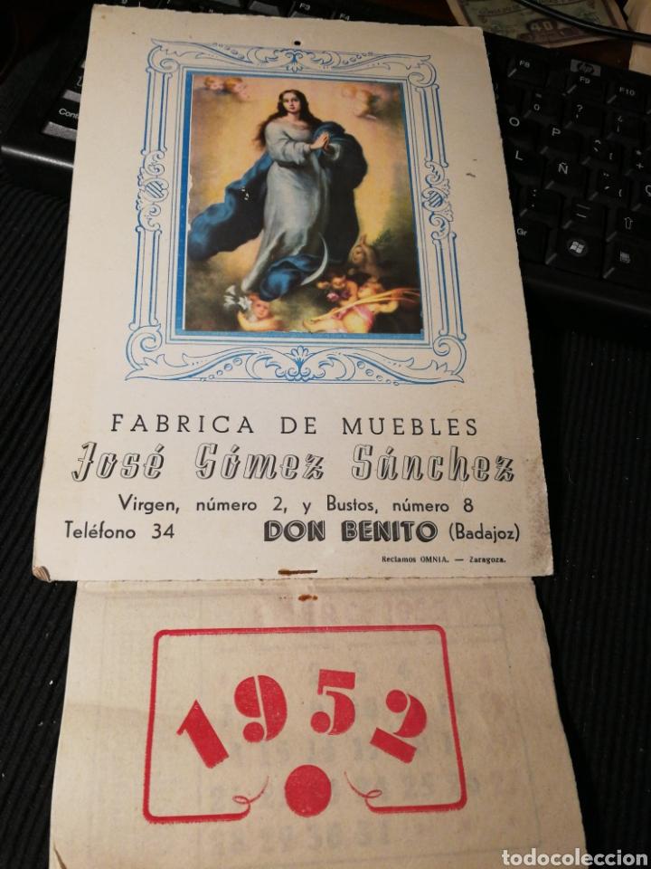 JOSE GOMEZ SANCHEZ. FABRICA DE MUEBLES. DON BENITO. BADAJOZ 1952. CALENDARIO (Coleccionismo - Carteles Pequeño Formato)