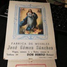 Coleccionismo de carteles: JOSE GOMEZ SANCHEZ. FABRICA DE MUEBLES. DON BENITO. BADAJOZ 1952. CALENDARIO. Lote 184891215