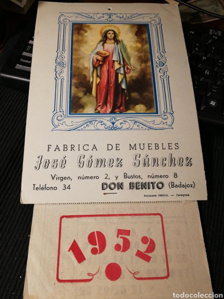 JOSE GOMEZ SANCHEZ. FABRICA DE MUEBLES. DON BENITO. BADAJOZ. 1952. CALENDARIO (Coleccionismo - Carteles Pequeño Formato)