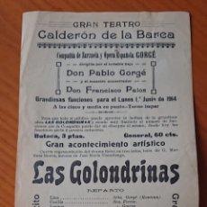 Coleccionismo de carteles: VALLADOLID, CARTEL TEATRO CALDERÓN DE 1914. MUY RARO.. Lote 185432712