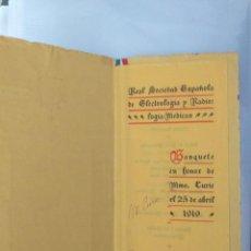 Coleccionismo de carteles: HOMENAJE MARIE CURIE HOTEL RITZ AUTOGRAFO MADAME CURIE. Lote 186071397