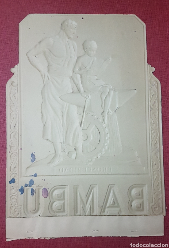 Coleccionismo de carteles: Antiguo magnifico cartel carton troquelado papel de fumar Bambu epoca republica - Foto 4 - 186261222
