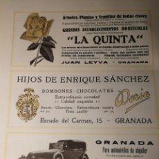 Coleccionismo de carteles: PUBLICIDAD DE NEGOCIOS DE GRANADA. AÑOS 20. ORIGINAL DE LIBRO. 25X20 CM. Lote 186438245