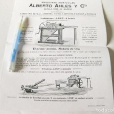 Coleccionismo de carteles: ANTIGUA HOJA CARTEL PUBLICITARIO DE LA TRILLADORA ALBERTO AHLES. Lote 187122621